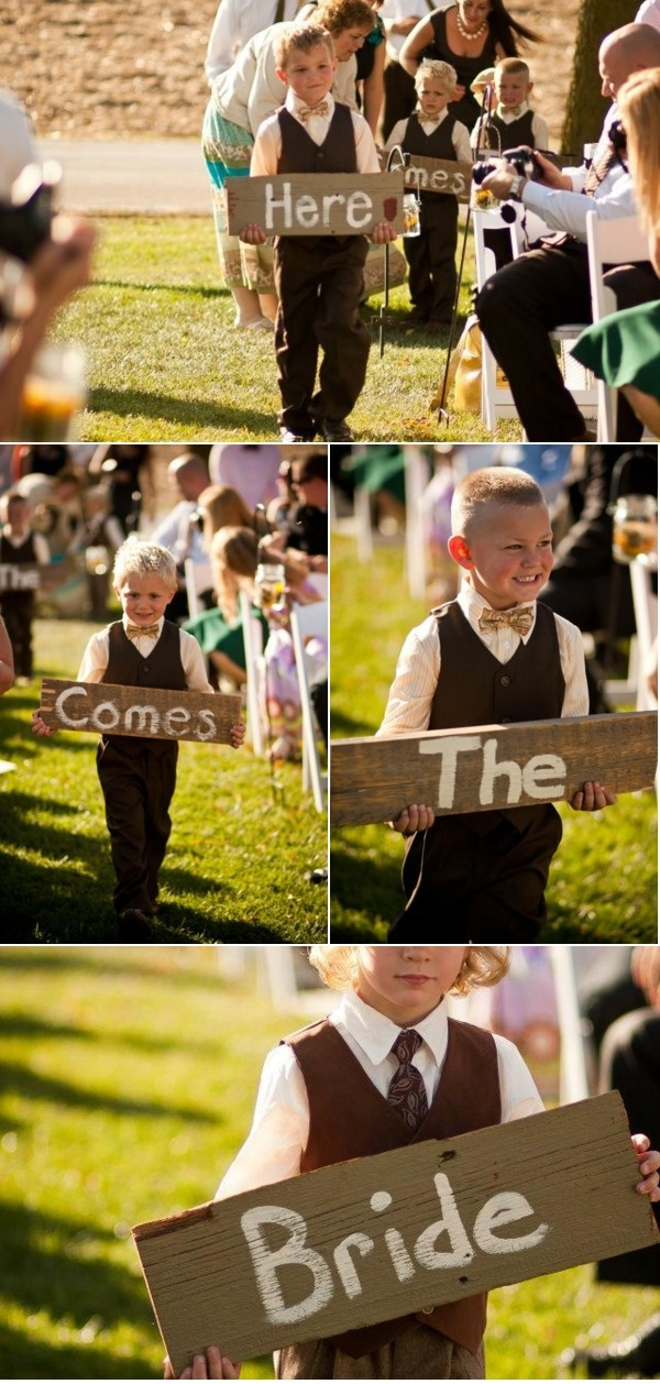 """""""Here comes the bride"""" signs for little guys to carry. SO CUTE. via @Karen Jacot Jacot Jacot Jacot Darling Me Pretty"""