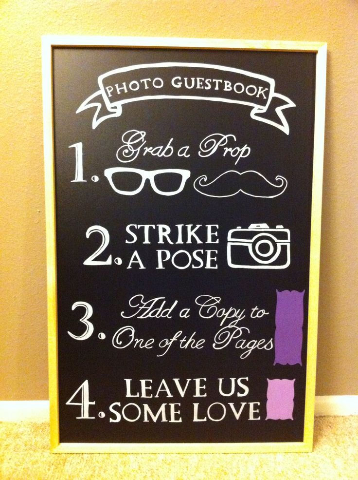 photo booth sign i made for our wedding
