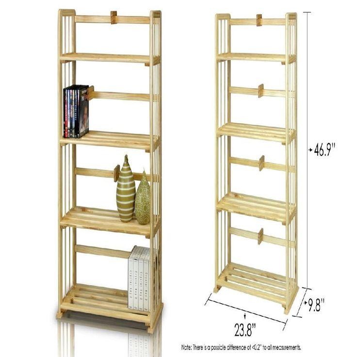 4tier pine solid wood cabinet stockpiling rack bookshelf furniture book showcase #PerfectAllinaceLad #Contemporary