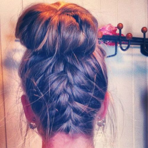 French braid into sock bun, If only I could do this!!!Buns Hairstyles, Long Hair, Beautiful, Upside Down Braid, French Braids Buns, Messy Buns, Hair Style, Socks Buns, Rubber Band