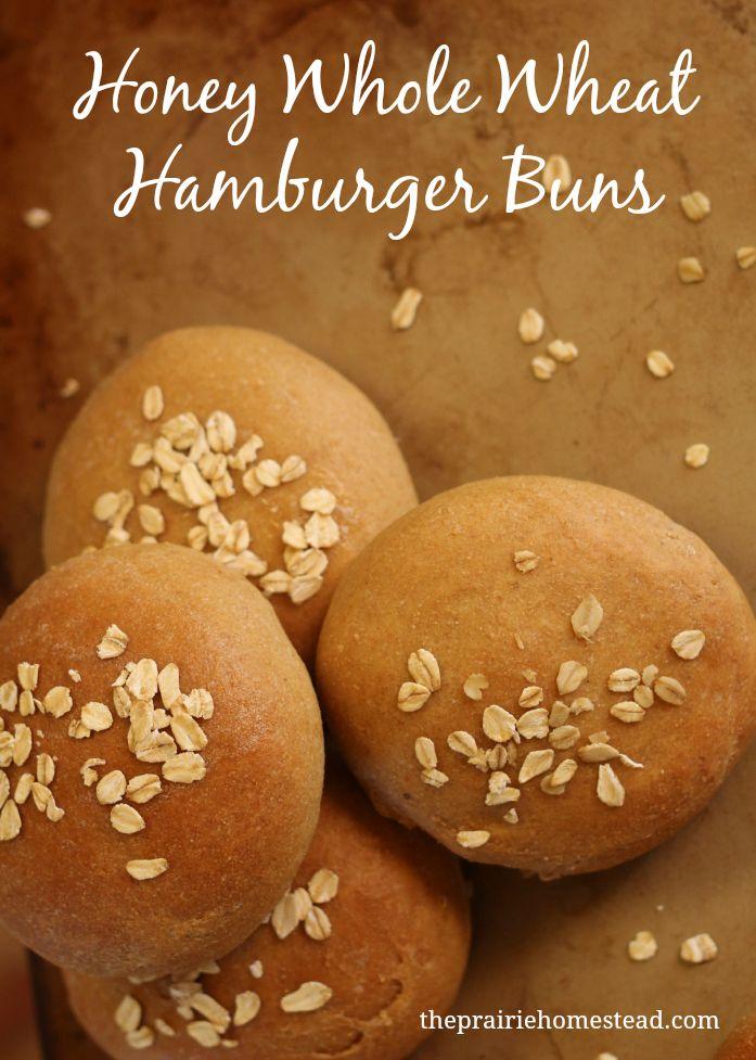 Honey Whole Wheat Hamburger Buns Recipe on The Prairie Homestead at http://www.theprairiehomestead.com/2014/03/whole-wheat-bun-recipe.html