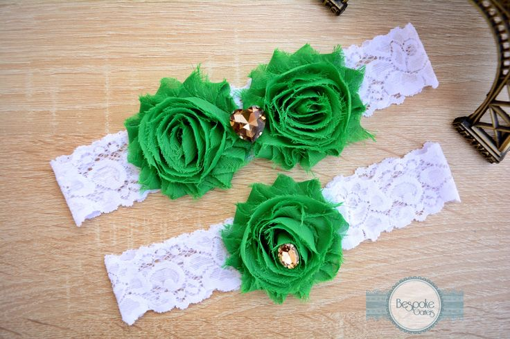 Bronze Rhinestone Wedding Garter Set of White Lace & Emerald Flowers - by BespokeGarters by BespokeGarters on Etsy