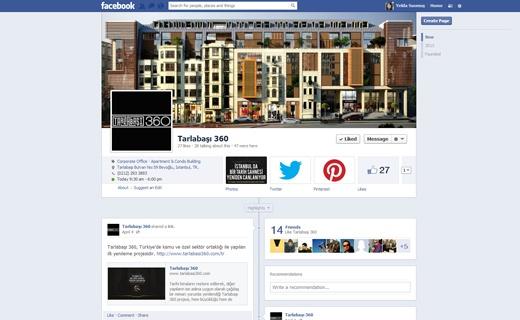 Türkiye'nin özel ve kamu işbirliği ile gerçekleştirilen ilk yenileme projesi Tarlabaşı 360'ın Facebook sayfa yönetimi.