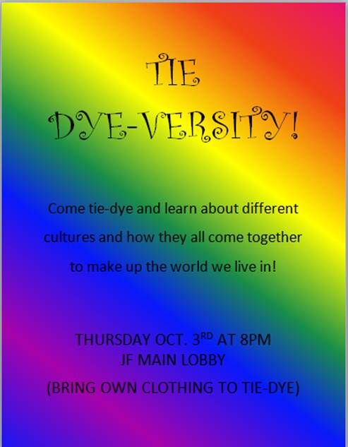 A program about diversity. Residents brought a white t shirt and colors represented things (born inside US, outside US etc). About 20 residents showed up. Was really cool :)