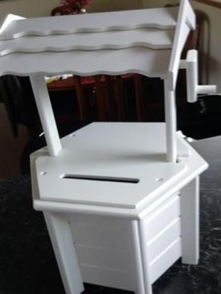 BBWWW. Hire this white wishing well from us and dress with any colour flowers or ribbons or leave as is. Store your cards and gifts of cash in a stylish way. This decorative wishing well comes with a lockable lid. $40 hire fee for 7 days