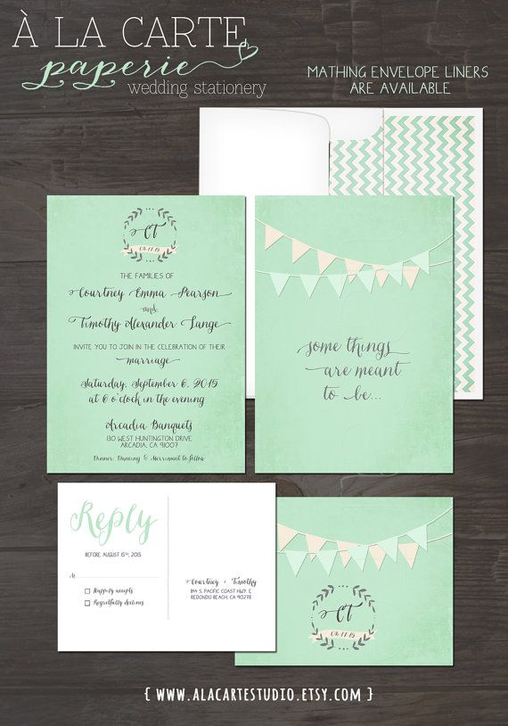 Mint Green Bunting Flags Whimsical Wedding Invitation and RSVP Card on Etsy, $30.00