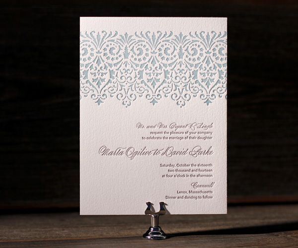 Vintage glamor greets letterpress finery with Wisteria wedding invitations in rich, elegant colors.