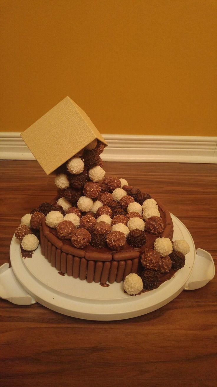 Anti gravity ferrero rocher cake