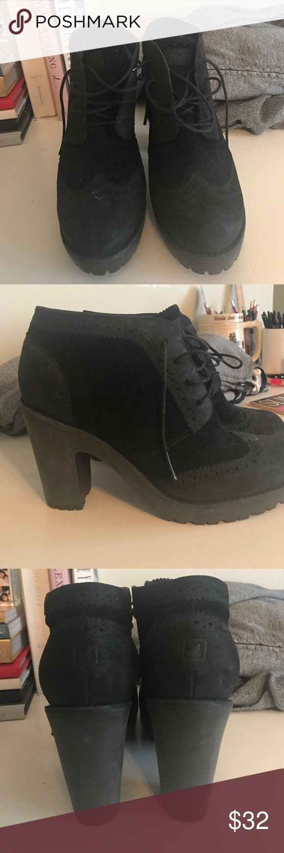 Sperry Bootys Size 7 Black Sperry Heeled Booties / Size 7 / Barely Worn Sperry Top-Sider Shoes Ankle Boots & Booties