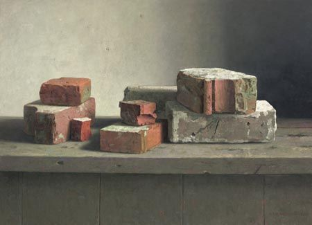 """Quel sujet étrange mais oh combien difficile. La texture de la brique est inégale et de couleurs pour le moins ternes, fades...""""sans odeur, sans couleur et sans """"saveur"""" ...peint par Henk helmantel. Un méchant défi, pour moi : non merci !"""