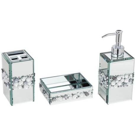 Jeweled Mirror 3 Piece Bathroom Accessory Set