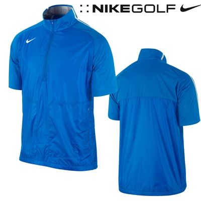 Nike windproof short sleeve golf jacket 1 2 zip wind top for Mens pullover shirts short sleeve