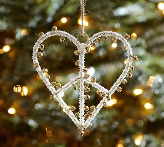 2015: Jingle Bell Peace Sign Heart Ornament, Benefiting St. Jude Children's Research Hospital