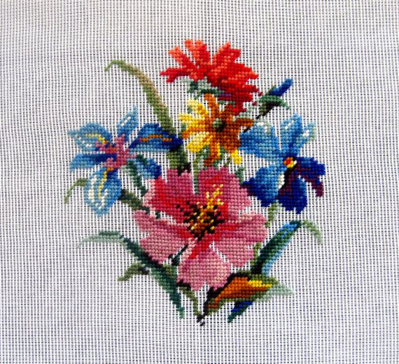 Vintage Needlepoint Canvas Preworked Floral Poppy Morning Glory Orange Pink Blue…