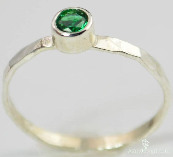 Small Emerald Ring, Mothers Ring, Hammered Silver, Stackable Rings, Mother's Ring, May Birthstone Ring, Skinny Ring, Birthday Ring