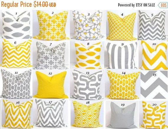 SALE YELLOW GRAY Pillow Sale. Pillows.16x16 inch by ElemenOPillows