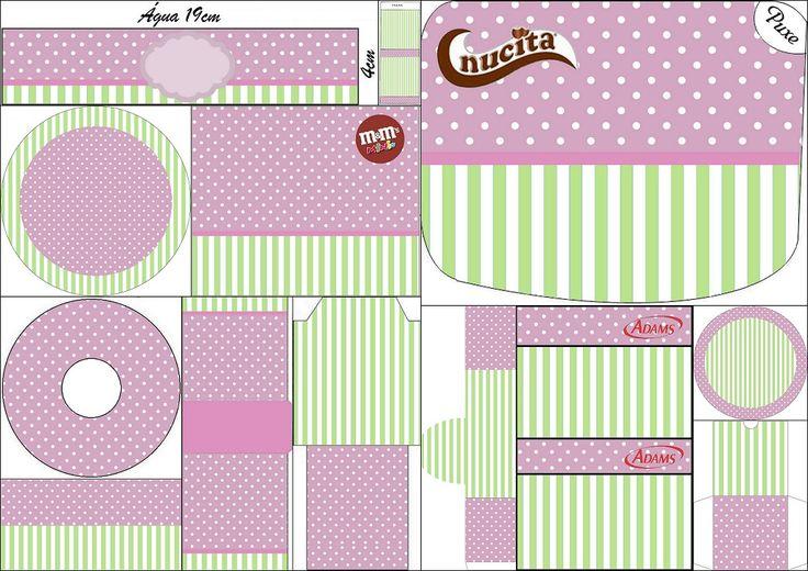Morado Y Verde Menta Etiquetas Candy Bar Para Imprimir