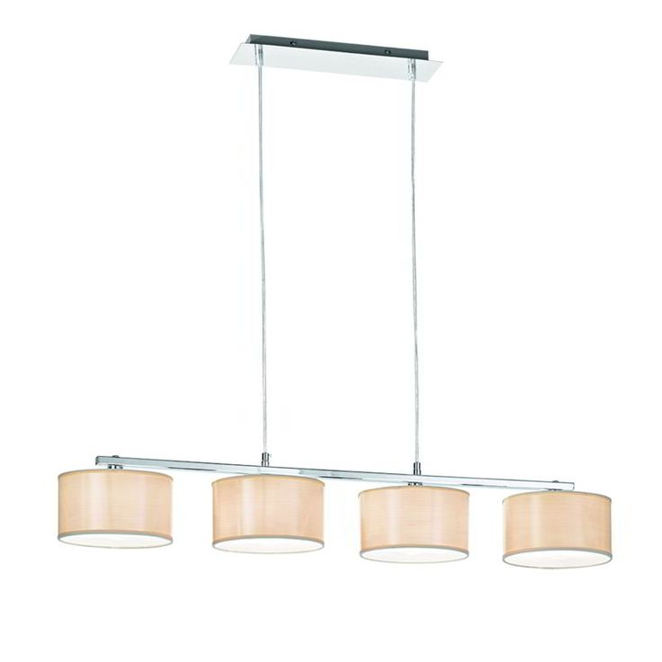 21595-007 Chrome Pendant with Wood Effect Shades