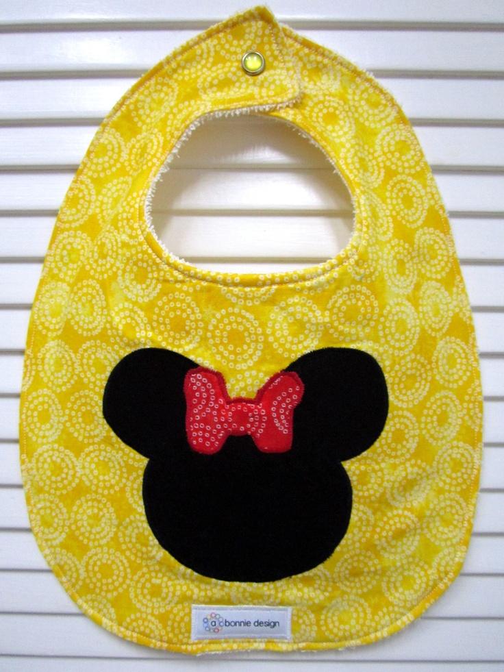 Minnie Yellow : Plastic Lined Bib. minnie mouse bib