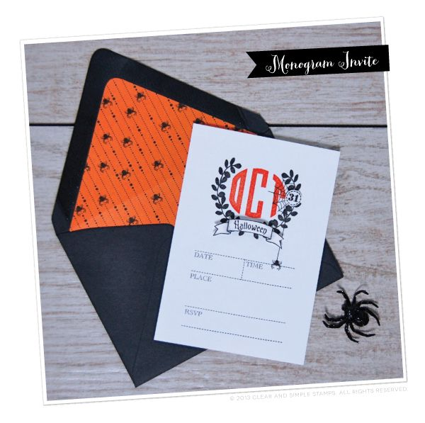 Holi-Date Monogram   Clear and Simple Stamps Alpha Monogram  - full supply list on blog   Halloween Party Invite