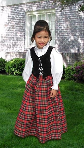 Scottish Tartan Three Piece Traditional Dress for Girls