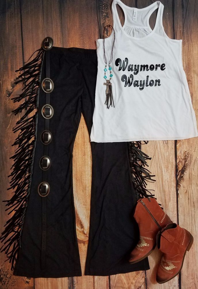 Cowgirl GYPSY FRINGE BELLS Flare Bell Bottoms Pants Yoga Leggings 70's fashion S #WRANGLER #leggings