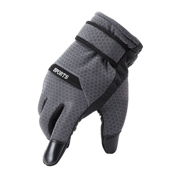 Men Leather Polyester Gloves Driving Cycling Bike Outdoor Coral Fleece Linen Mittens