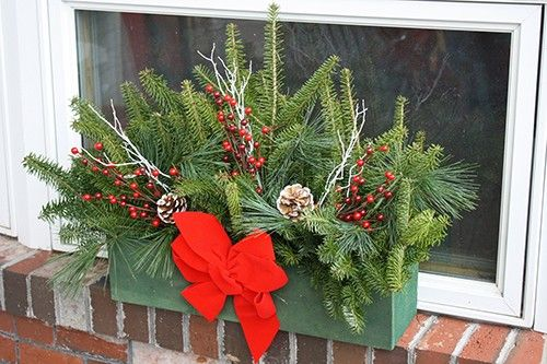 winter window box outdoor christmas decorations - Window Box Christmas Decorations