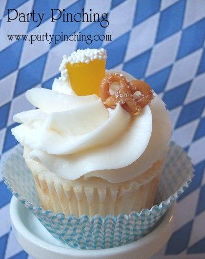 Oktoberfest, oktoberfest cupcake, beer cupcake, pretzel cupcake, oktoberfest par…