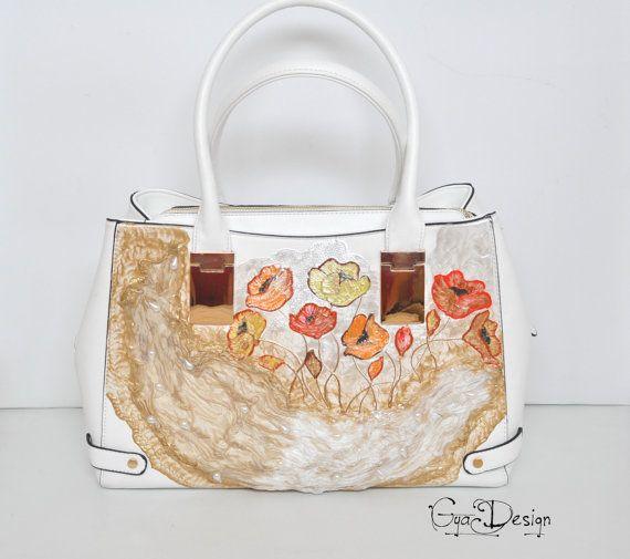 White handbag with flowers Painted handbag purse Purse bag