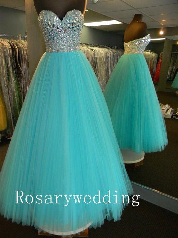 Sweetheart tulle rhinestones blue prom dress by Rosaryweddingdress, $295.00