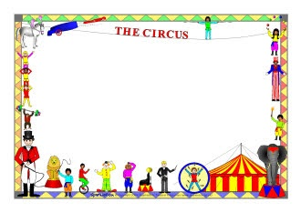 Circus-themed A4 page borders (SB2359) - SparkleBox
