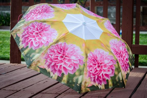 Pink Custom Designed Umbrella featuring floral photography