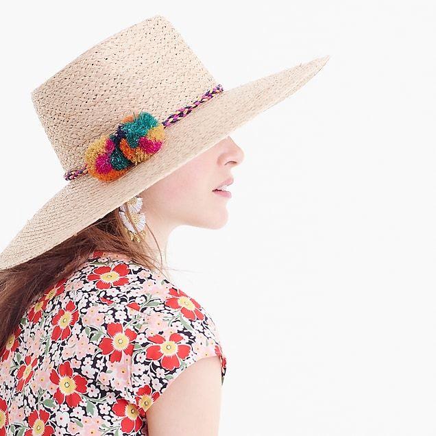 Straw Sun Hat With Pom Poms Fashion Sun Hats For Women Summer Fashion