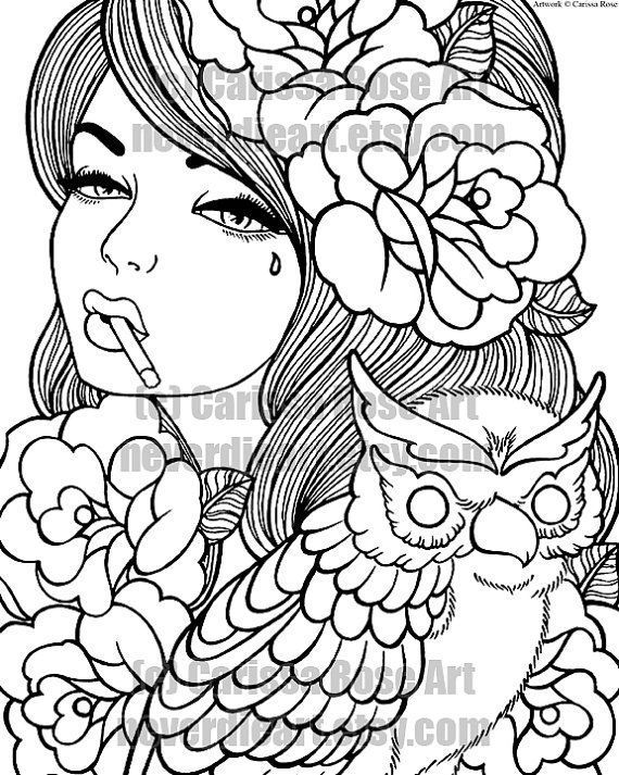 digital download print your own coloring book outline page taken for granted tattoo flash art by carissa rose - Coloring Books For Girls