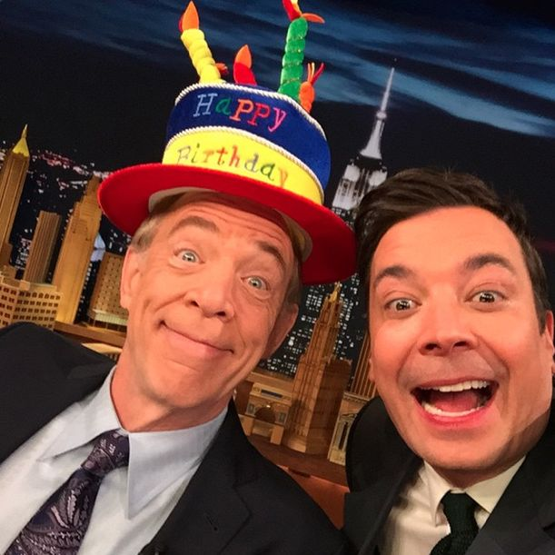 Jimmy helped JK Simmons celebrate his birthday with a selfie and this beautiful hat. #FallonTonight