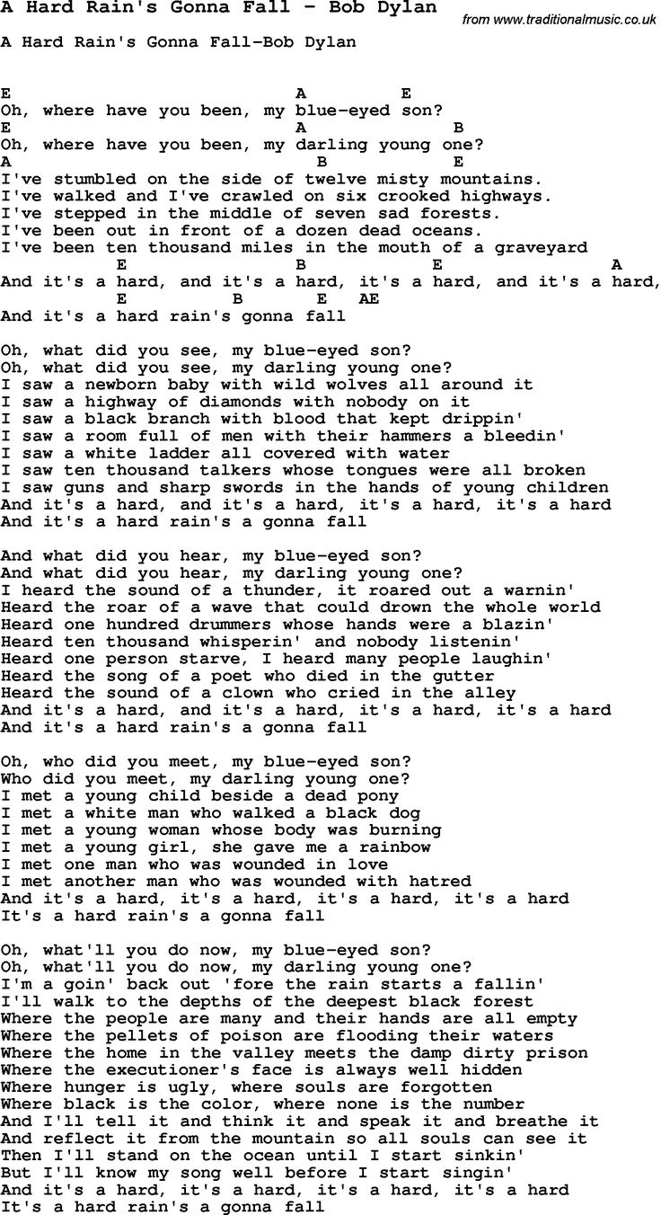 1090 best chordslyricshow to play music images on pinterest song a hard rains gonna fall by bob dylan with lyrics for vocal performance plus chords for ukulele guitar banjo etc hexwebz Images