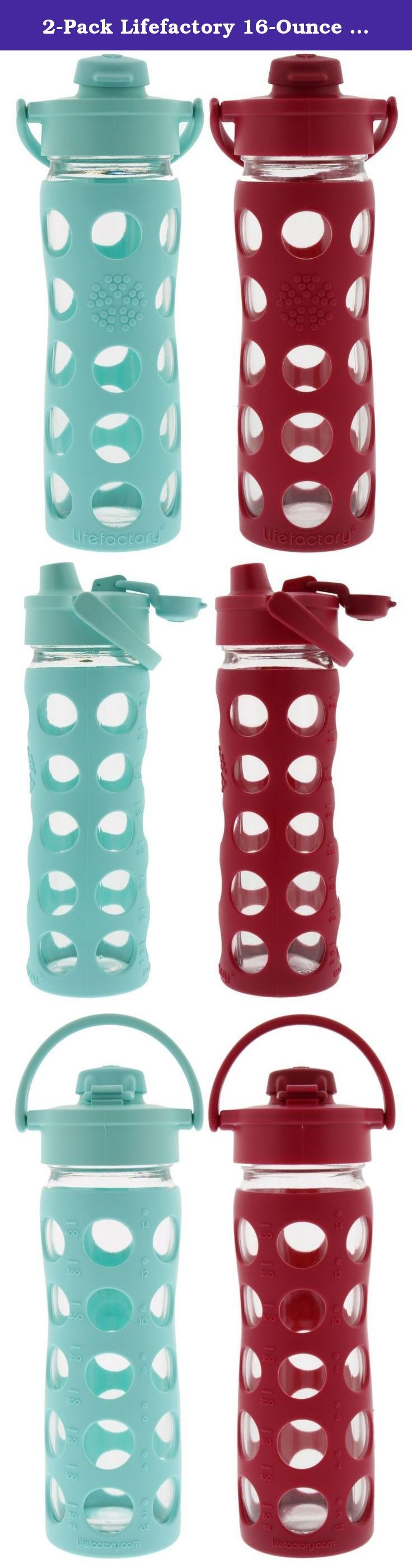 2-Pack Lifefactory 16-Ounce Flip Cap Beverage Bottles (Turquoise and Raspberry). Performance meets Purity. The performance of the Flip Top Cap meets the purity of glass. The Flip Top Cap collection offers easy on-the-go drinking from the narrow mouth spout with the convenience of wide mouth access. 16 oz size is a bit slimmer and fits well in most car cup holders making it a perfect road trip companion. BPA free. Dishwasher safe. Made in the U.S. and Europe.