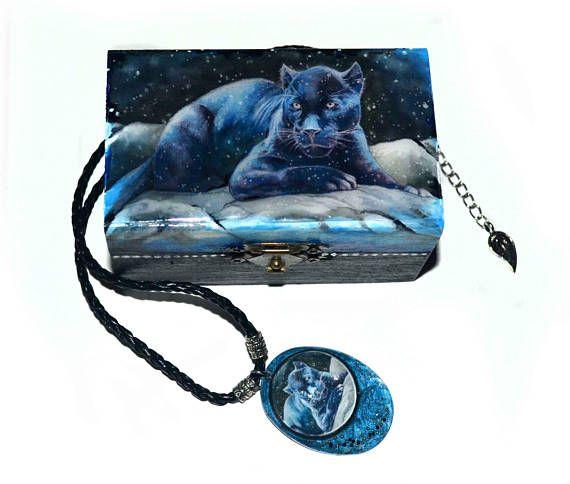 Black panther  Jewellery box and pendant big cat original