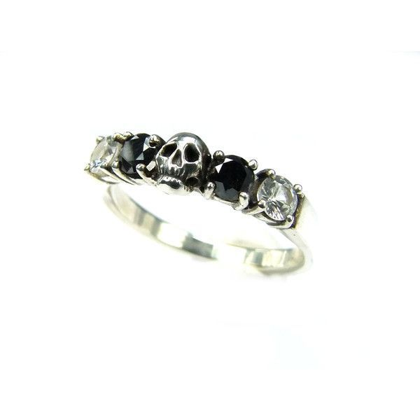 Skull Wedding Ring Black Diamond Sterling Engagement Ring Goth... ($260) via Polyvore featuring jewelry, rings, wedding, dark wedding rings, gothic wedding rings, wedding band engagement ring, black diamond wedding rings and black diamond engagement rings