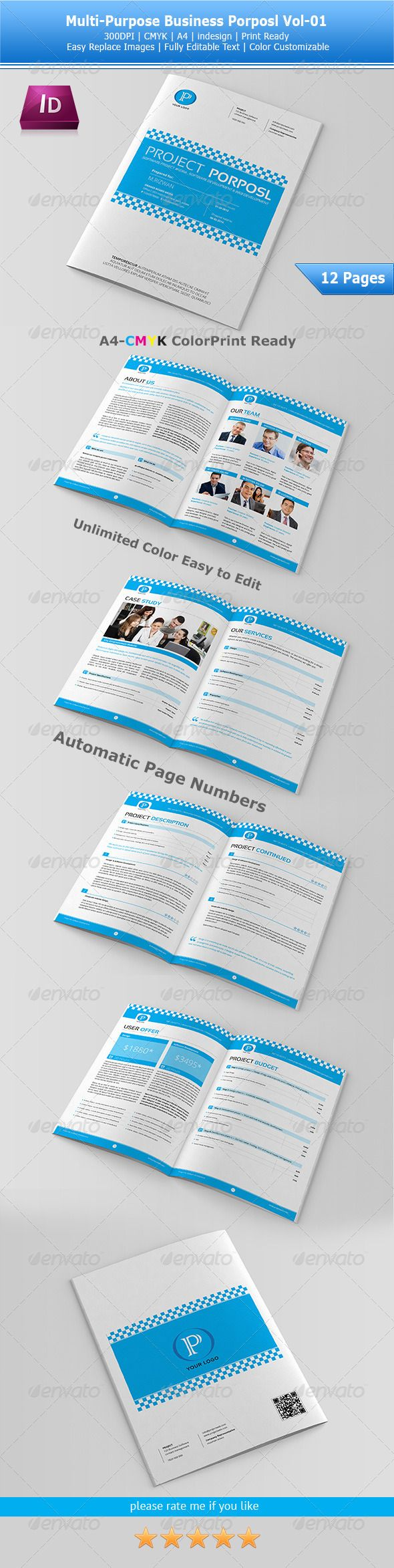Multipurpose Business Proposal Template Vol-01 #GraphicRiver This is a modern and powerful template for a Brochure. The format is A4 (8.2×11.6 inches) with 3 mm / 0.125 inches bleed all around. The files are fully editable and print ready. The images are not included. Paragraph and character styles included, Features: indesign Cs6 and idml cs4 file Fonts Used: .fontsquirrel /fonts/download/Sansation .fontsquirrel /fonts/download/open-sans Created: 8May13 GraphicsFilesIncluded: InDesignINDD…
