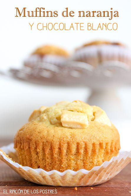 Muffins de naranja y chocolate blanco - El rincón de los postres