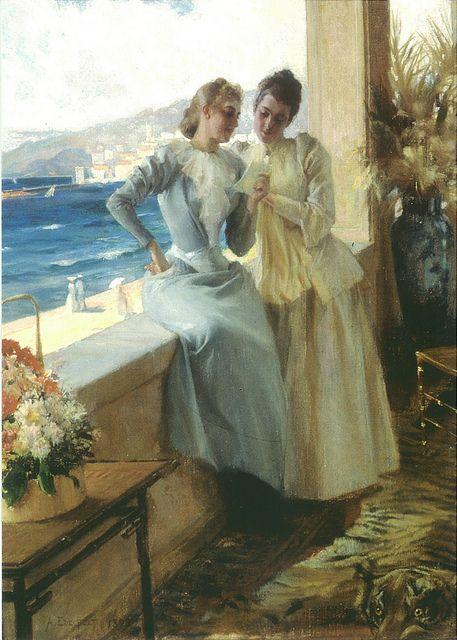 """Albert Edelfelt: """"Ellan Edelfelt and Emilie von Etter in Cannes"""" 1892 - Edelfelt vihittiin tammikuun 19. päivä vuonna 1888 Anna Elise (Ellan) de la Chapellen (1857-1921) kanssa. Edelfeltin vaimo oli paitsi rikas perijätär myös erittäin kaunis. (Edelfelt avioitui Helsingin kauneimman tytön kanssa. Avioliitto ei kuitenkaan ollut onnellinen. Kertoo Anna Kortelainen.)"""