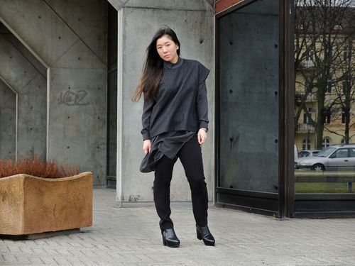 Layering silk shirt dress with slacks and woolen boxy top