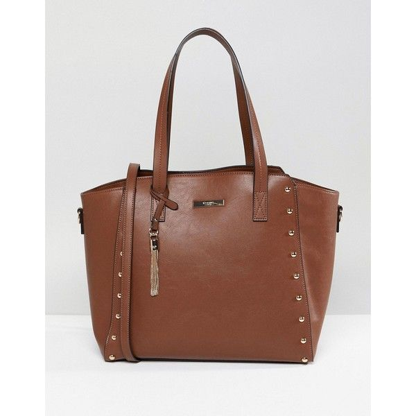 Dune Dancy Tote Bag With Gold Stud Detailing (90 CAD) ❤ liked on Polyvore featuring bags, handbags, tote bags, tan, gold handbags, brown purse, studded tote bag, brown tote handbags and tan purse