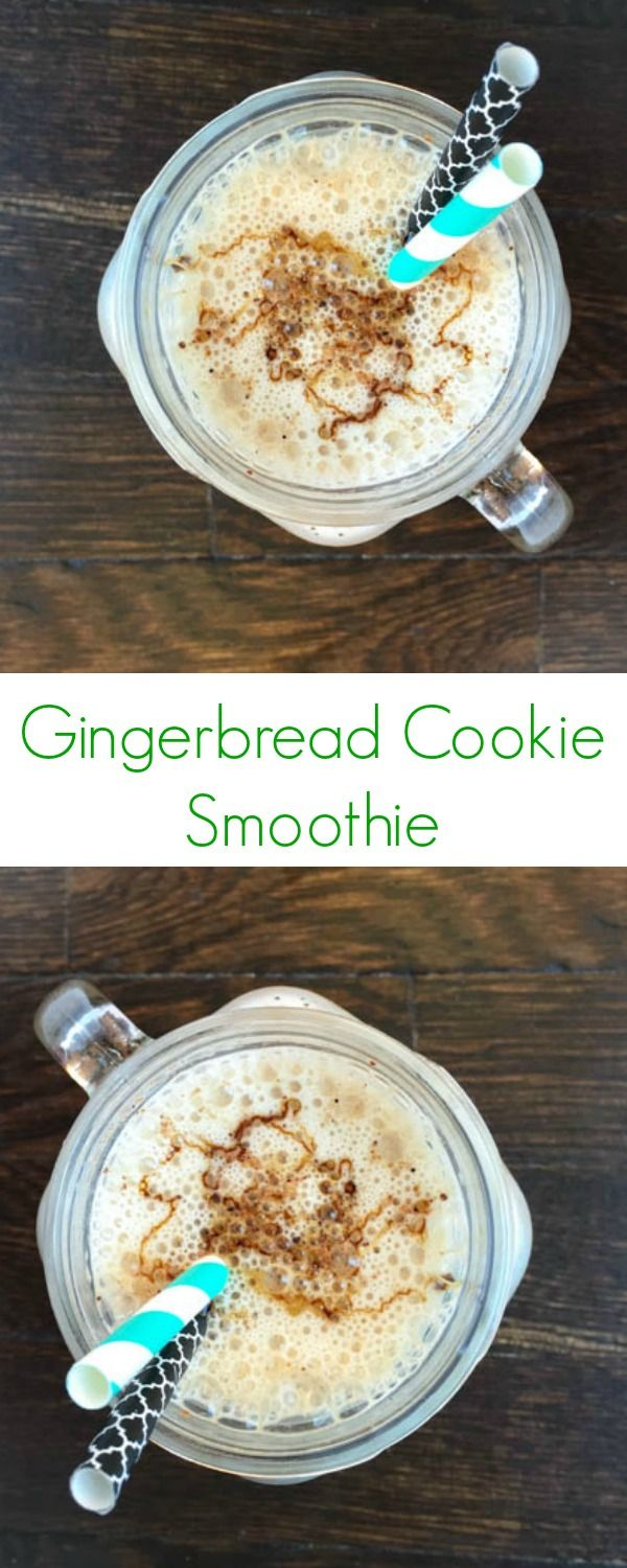 Gingerbread Cookie Smoothie Recipe - An easy protein-packed drink perfect for a healthy breakfast, lunch, or snack! - The Lemon Bowl