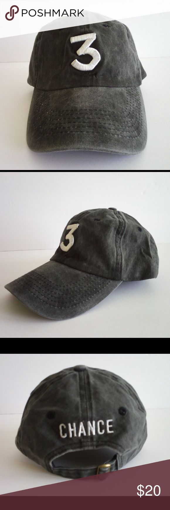 """Chance the Rapper """"3"""" Baseball Hat Brand new ash black colored Chance the Rapper baseball hat. One size fits all, really nice hat! Accessories Hats"""