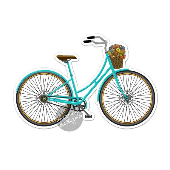 Bicycle Car Decal - Colorful Vintage Retro Bike Bumper Sticker Laptop Decal Teal Turquoise Flowers Basket Cute Car Decal Hippie Boho