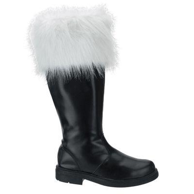 Kerstman laarzen. Dit zijn echte zwarte kerstman laarzen met boven aan de laarzen een witte bontkraag. De laarzen zijn hoog en bedekken de kuiten. Deze kerstman laarzen zijn in verschillende maten verkrijgbaar.