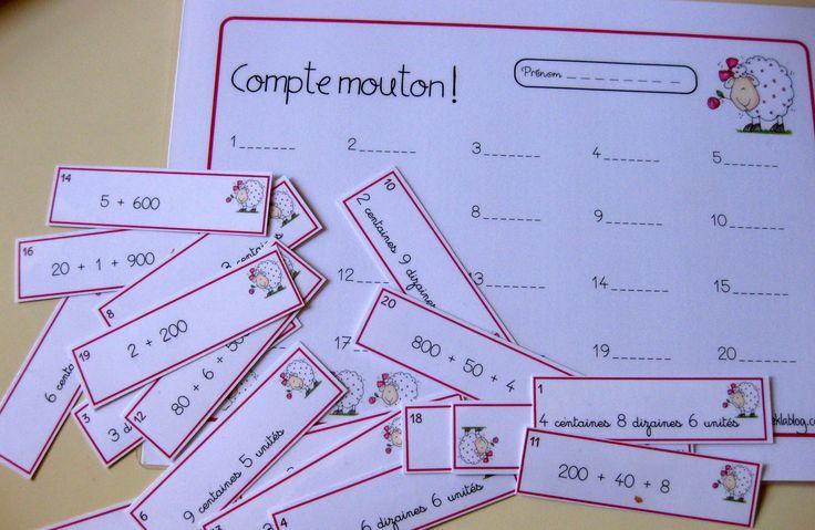 CE1 - compte mouton !  jeu : lecture de nombres décomposés du type: 200+10+7  ou   2 centaines 10 diz 7 unités